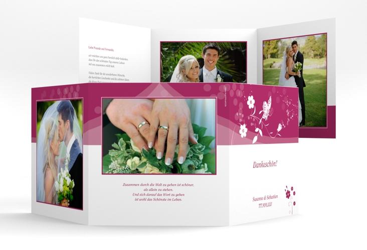 "Danksagungskarte Hochzeit ""Verona"" Quadr. Karte doppelt pink"