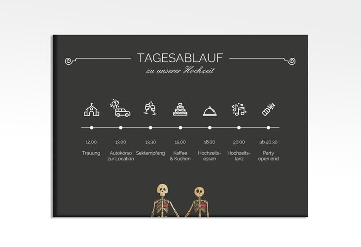 """Tagesablauf Leinwand Hochzeit """"Bones"""" 70 x 50 cm Leinwand schwarz"""