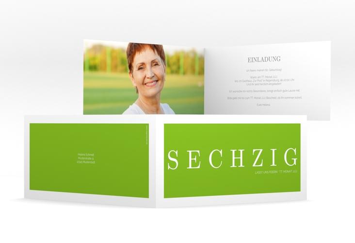 """Einladungskarte """"Schlicht"""" DIN lang Klappkarte gruen"""