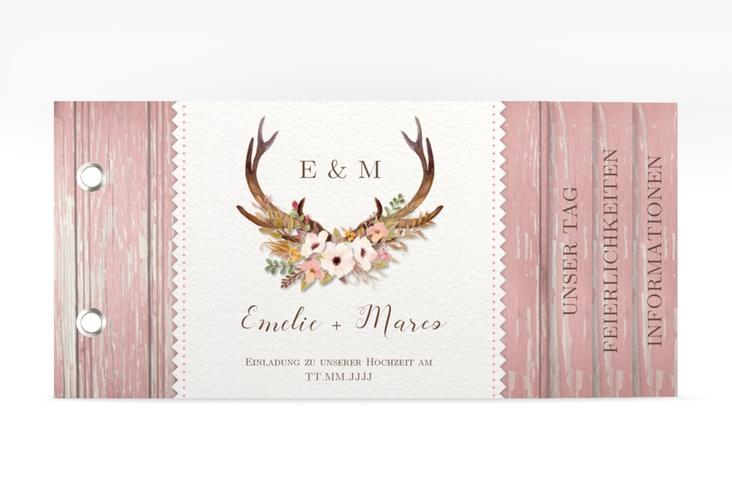 """Hochzeitseinladung """"Heimatjuwel"""" Booklet rosa"""