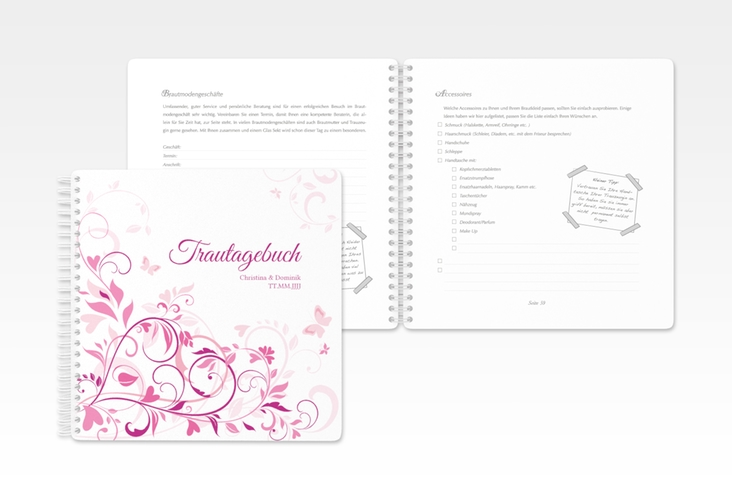 """Trautagebuch Hochzeit """"Lilly"""" Trautagebuch Hochzeit pink"""