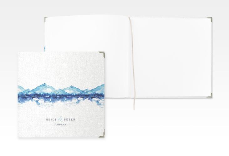 """Gästebuch Selection Hochzeit """"Bergliebe"""" Leinen-Hardcover blau"""