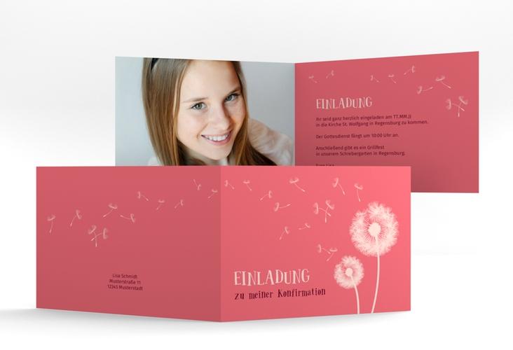 """Einladungskarte Konfirmation """"Dandelion"""" A6 Klappkarte Quer"""