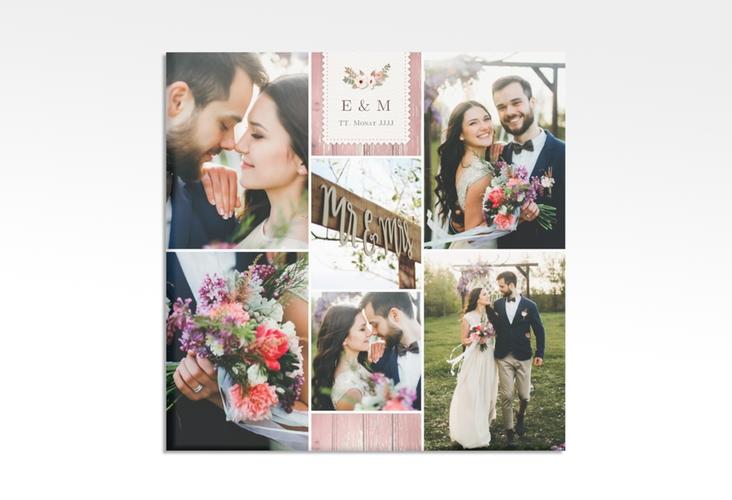 "Hochzeitscollage Leinwand ""Heimatjuwel"" 30 x 30 cm Leinwand rosa"