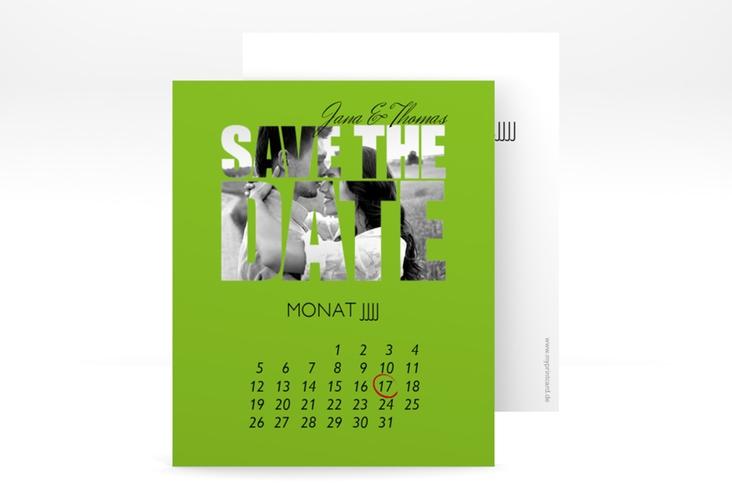 "Save the Date-Kalenderblatt ""Letters"" Kalenderblatt-Karte gruen"
