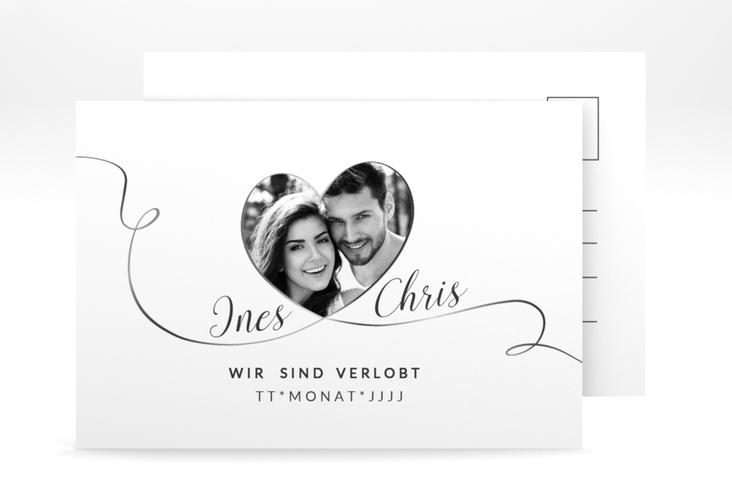 """Verlobungskarte Hochzeit """"Dolce"""" A6 Postkarte weiss"""