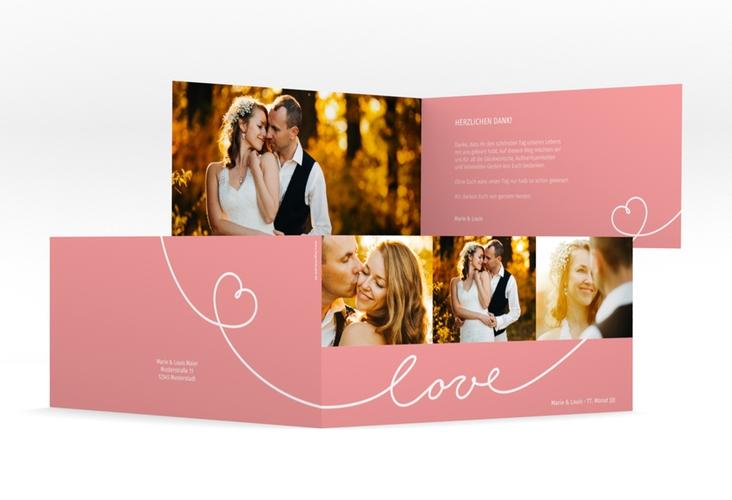 "Danksagungskarte Hochzeit ""Line"" DIN lang Klappkarte rosa"