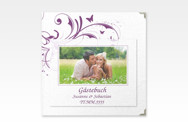 "Gästebuch Selection Hochzeit ""Palma"" Leinen-Hardcover lila"