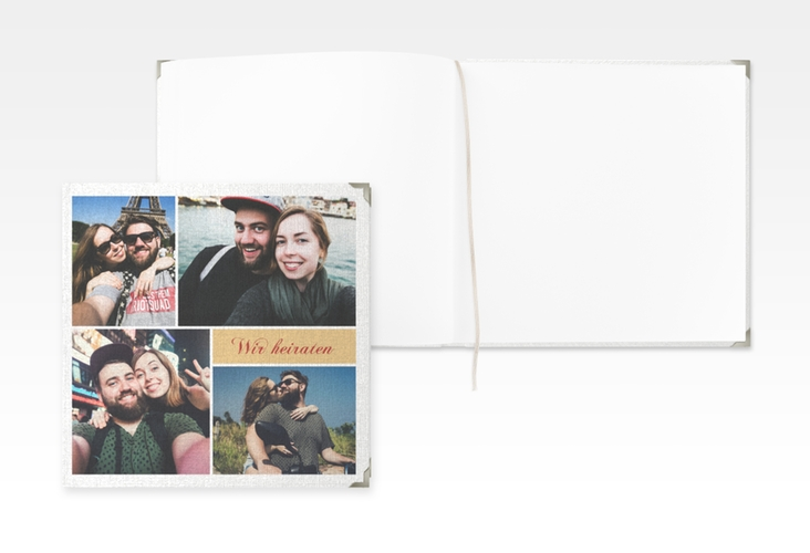 "Gästebuch Selection Hochzeit ""Collage"" Leinen-Hardcover apricot"