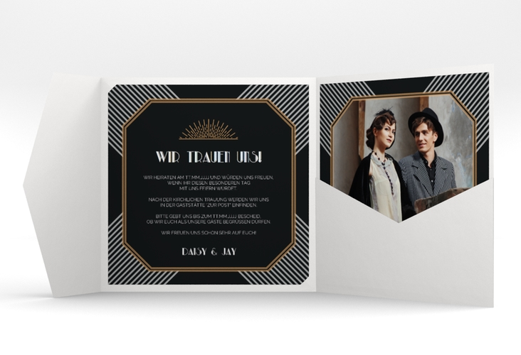"""Hochzeitseinladung """"Gatsby"""" Pocketfold"""