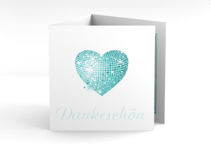 """Danksagungskarte Hochzeit """"Rimini"""" Quadr. Karte doppelt tuerkis"""