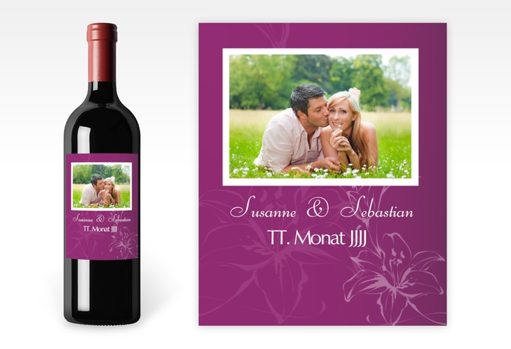 """Weinflaschenetikett Hochzeit """"Lille"""" Etikett Weinflasche 4er Set"""
