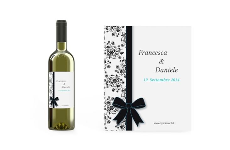 Etichette vino matrimonio collezione Bologna Etikett Weinflasche 4er Set azzuro