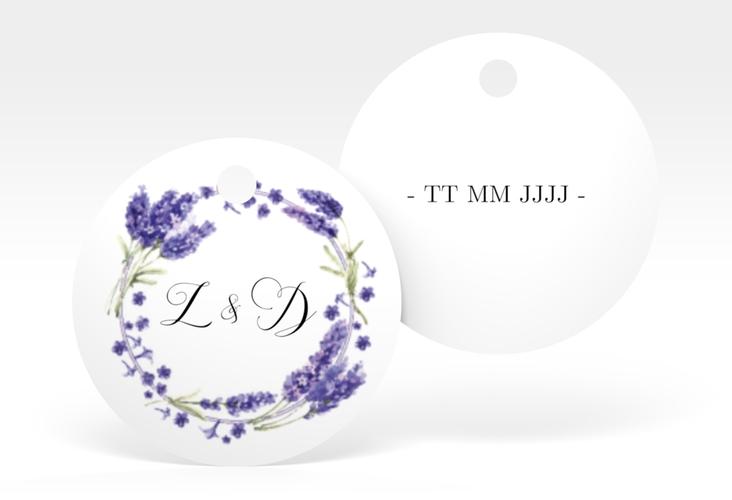 """Geschenkanhänger Hochzeit """"Lavendel"""" Geschenkanhänger, rund"""