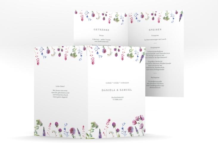 """Menükarte Hochzeit """"Wildblumen"""" DIN A5 geklappt weiss"""