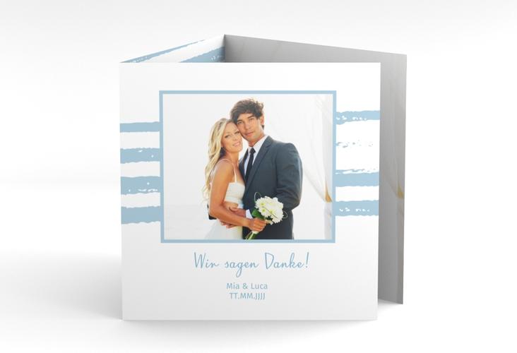 "Dankeskarte Hochzeit ""Mare"" Quadr. Karte doppelt blau"