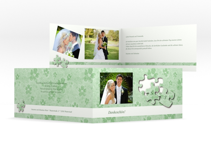 "Dankeskarte Hochzeit ""Ravensburg"" DIN lang Klappkarte gruen"