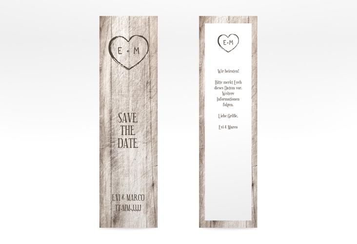 """Save the Date-Lesezeichen """"Wood"""" Lesezeichen weiss"""
