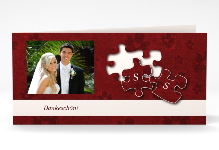 "Dankeskarte Hochzeit ""Ravensburg"" DIN lang Klappkarte rot"