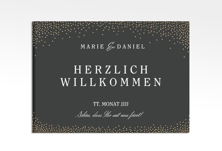 """Willkommensschild Leinwand """"Glitter"""" 70 x 50 cm Leinwand schwarz"""