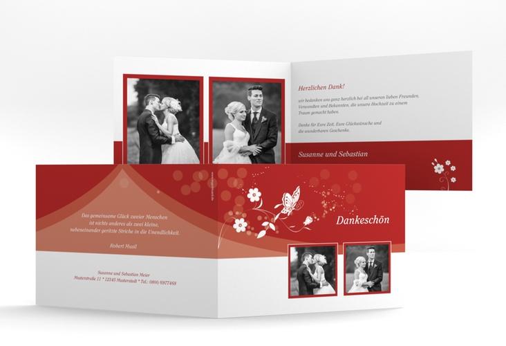"""Danksagungskarte Hochzeit """"Verona"""" A6 Klappkarte Quer rot"""