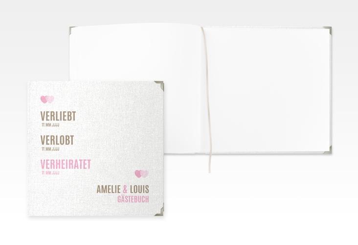 "Gästebuch Selection Hochzeit ""Couple"" Leinen-Hardcover rosa"