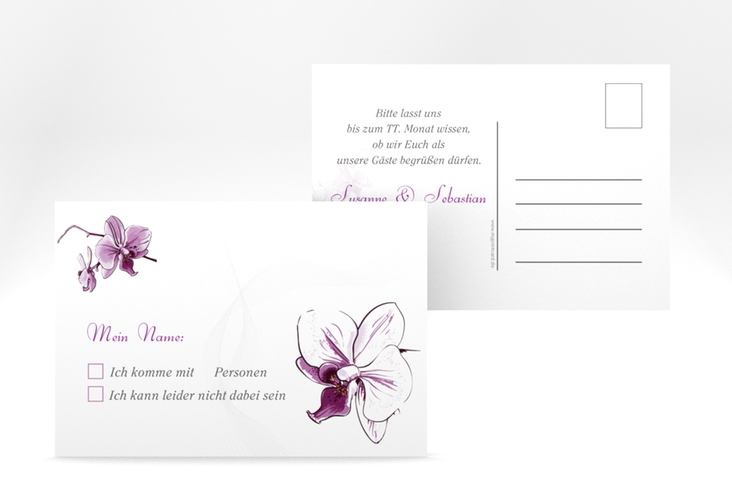 "Antwortkarte Hochzeit ""Modena"" A6 Postkarte weiss"