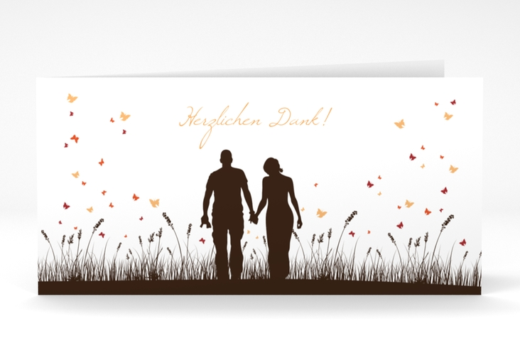 "Danksagungskarte Hochzeit ""Rouen"" DIN lang Klappkarte braun"