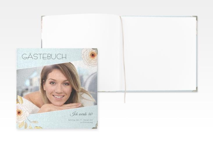 """Gästebuch Selection Geburtstag """"Fleur"""" Leinen-Hardcover tuerkis"""
