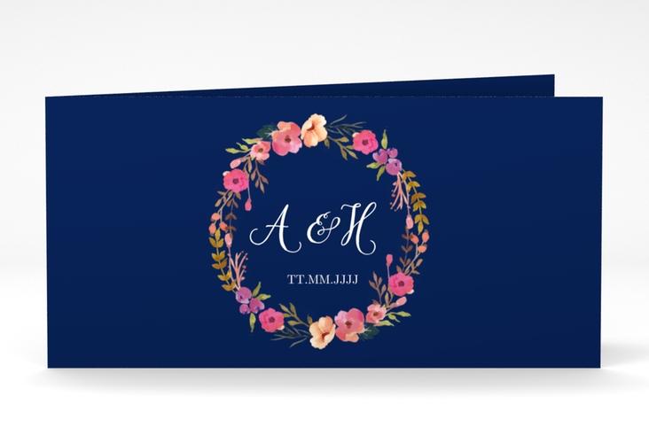 """Danksagungskarte Hochzeit """"Fiore"""" DIN lang Klappkarte blau"""