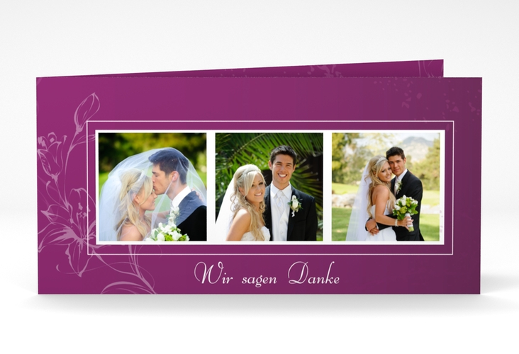 "Dankeskarte Hochzeit ""Lille"" DIN lang Klappkarte"