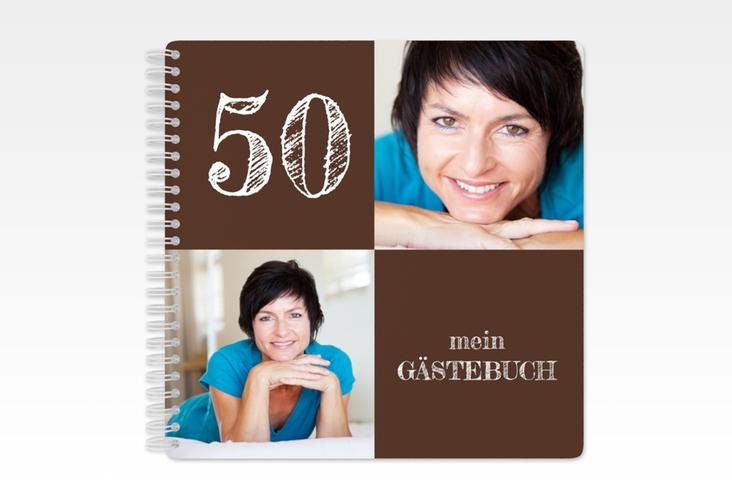 "Gästebuch Geburtstag ""Lebensfreude"" Ringbindung braun"