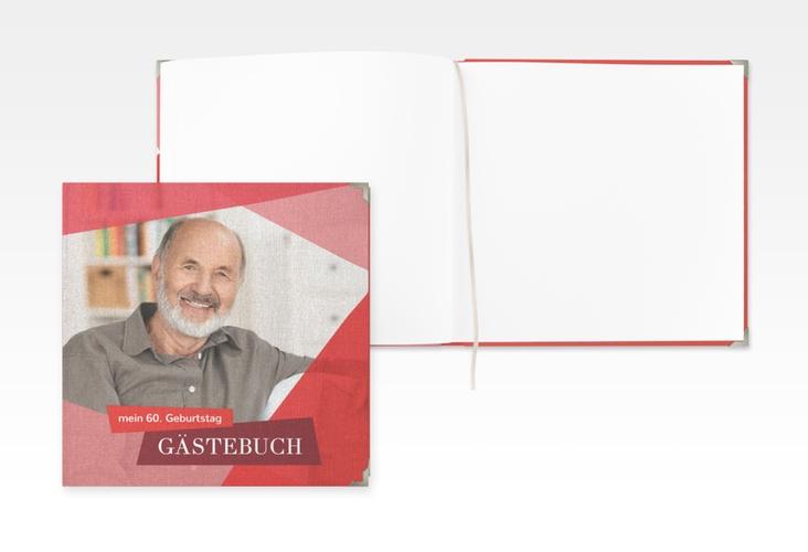 "Gästebuch Selection Geburtstag ""Shapes"" Leinen-Hardcover rot"