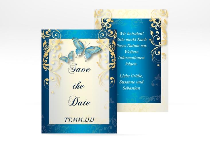 "Save the Date-Visitenkarte ""Toulouse"" Visitenkarte blau"