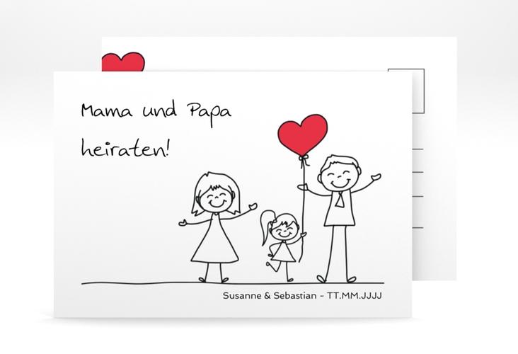 "Save the Date-Postkarte ""Familia"" A6 Postkarte weiss"