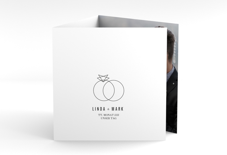 """Danksagungskarte Hochzeit """"Rings"""" Quadr. Karte doppelt"""