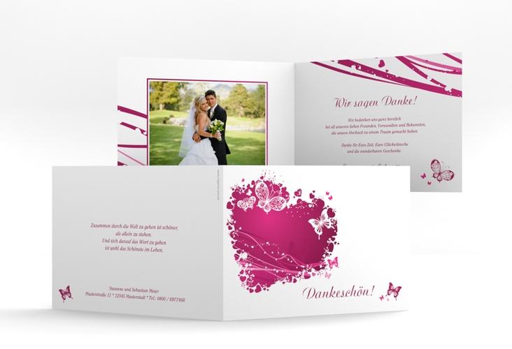 """Danksagungskarte Hochzeit """"Mailand"""" A6 Klappkarte Quer pink"""
