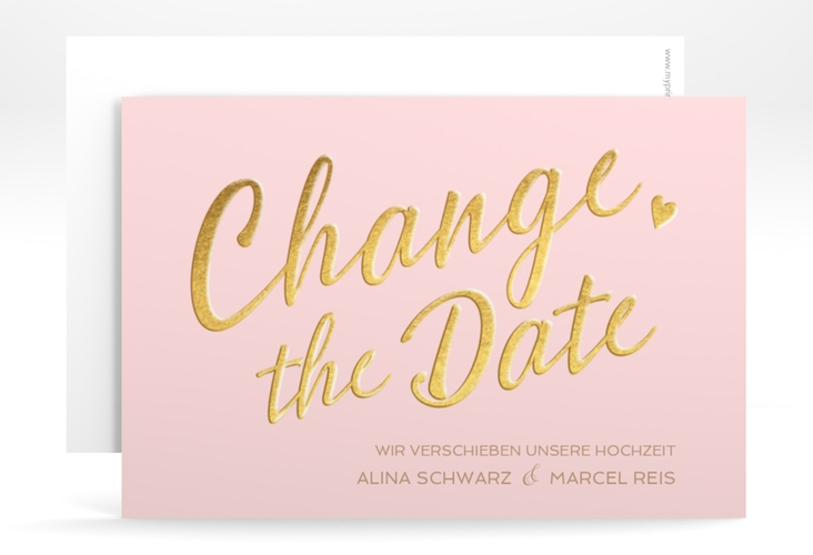 "Change the Date-Karte ""Glam"" A6 quer rosa"