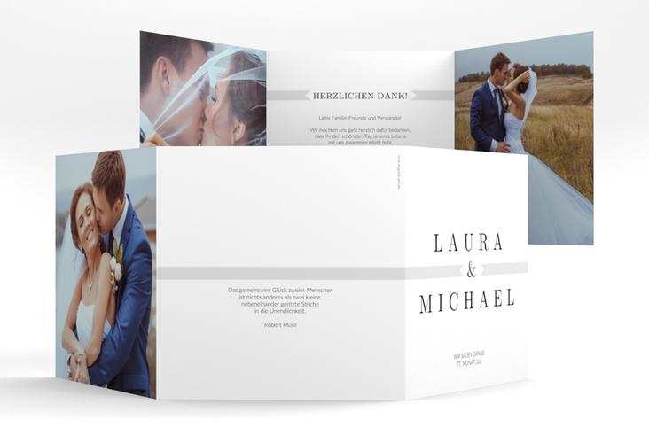"""Dankeskarte Hochzeit """"Tender"""" Quadr. Karte doppelt grau"""