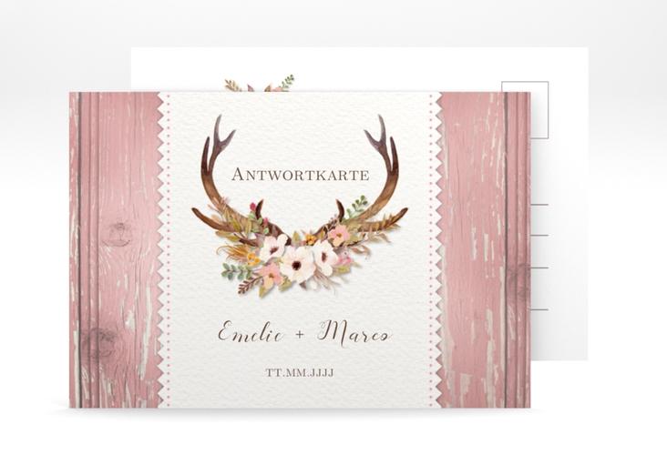 "Antwortkarte Hochzeit ""Heimatjuwel"" A6 Postkarte rosa"