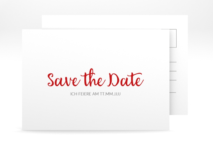 "Save the Date-Postkarte ""Handwriting"" A6 Postkarte rot"