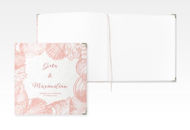 """Gästebuch Selection Hochzeit """"Muschelreich"""" Leinen-Hardcover rot"""