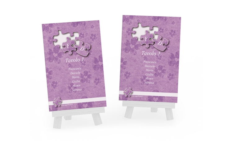 Segnaposti matrimonio collezione Bergamo Tischaufsteller lila