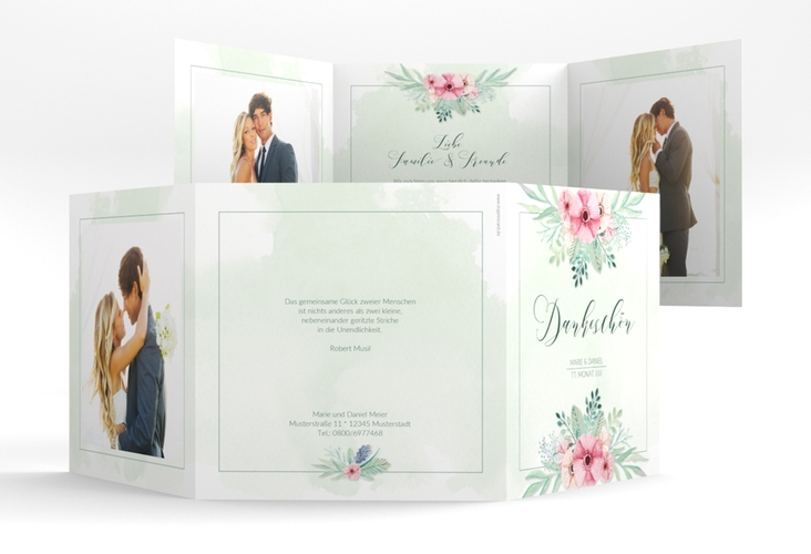 "Dankeskarte Hochzeit ""Surfinia"" Quadr. Karte doppelt gruen"