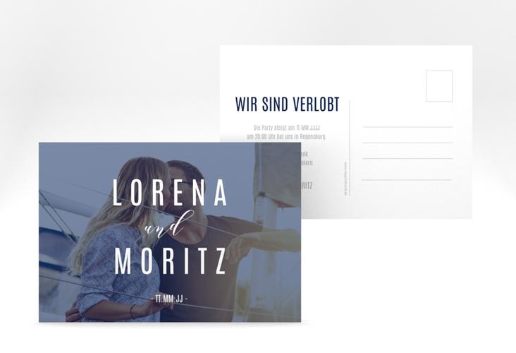 """Verlobungskarte Hochzeit """"Memory"""" A6 Postkarte blau"""