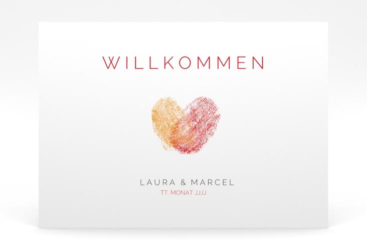 """Willkommensschild Poster """"Fingerprint"""" 70 x 50 cm Poster rot"""