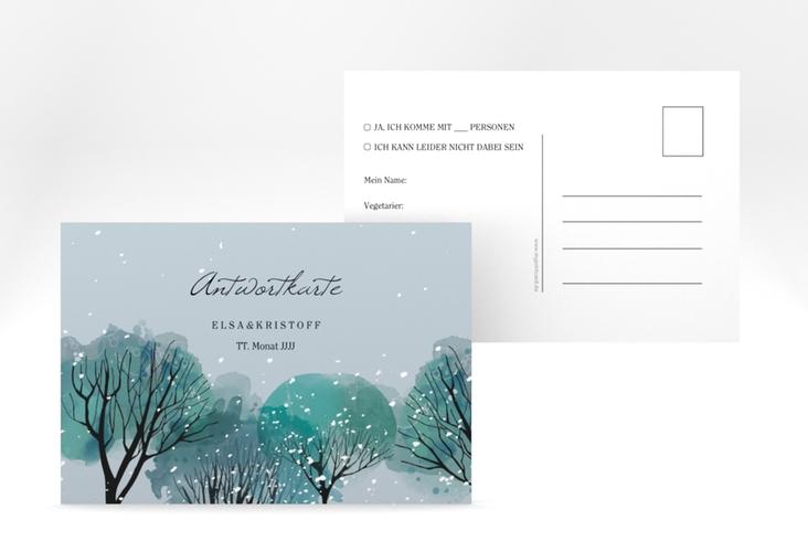 """Antwortkarte Hochzeit """"Winterhochzeit"""" A6 Postkarte blau"""