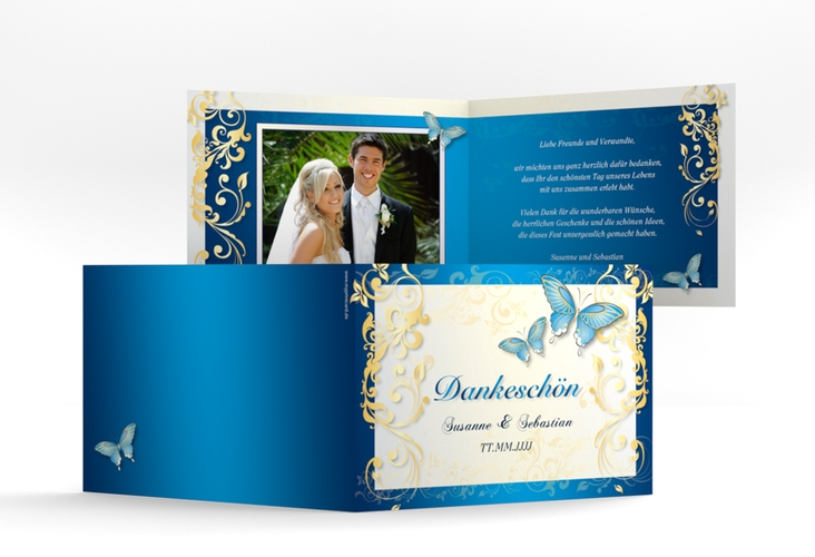 "Danksagungskarte Hochzeit ""Toulouse"" A6 Klappkarte Quer blau"