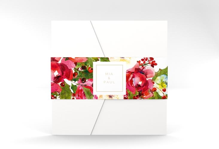"""Hochzeitseinladung """"Blumenpracht"""" Pocketfold weiss"""