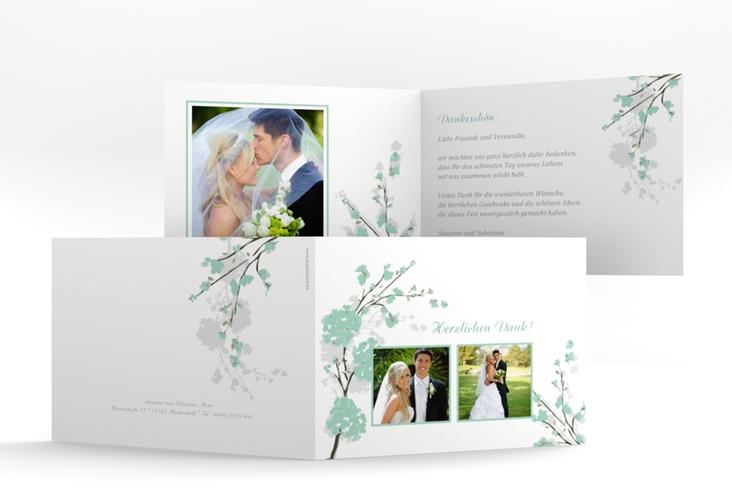 """Danksagungskarte Hochzeit """"Salerno"""" A6 Klappkarte Quer mint"""
